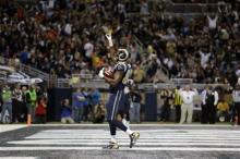 TE Jared Cook after his 6 Yard TD Catch via (AP Photo/Nam Y. Huh)