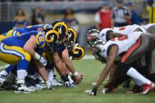 The Rams faced off against the Bucs. via St. Louis Rams